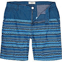 Blue Bellfield placement aztec print shorts