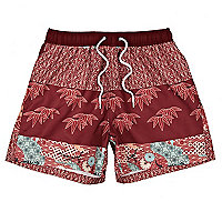 Red Bellfield oriental print swim shorts