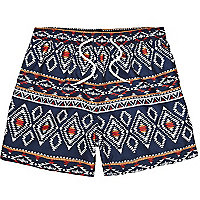 Navy Bellfield tribal print swim shorts