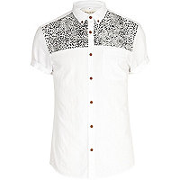 White leopard print panel Oxford shirt