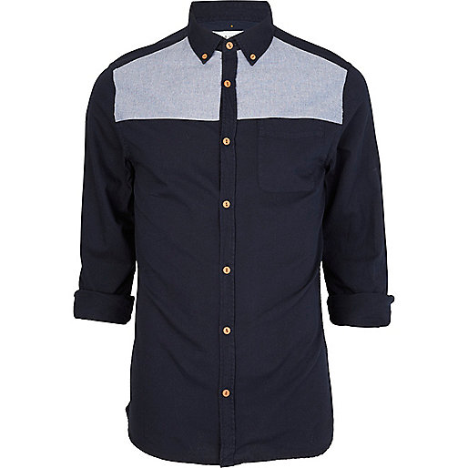 Navy chambray panel Oxford shirt