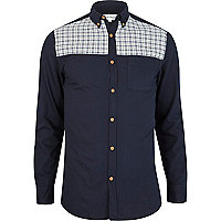 Navy check panel Oxford shirt
