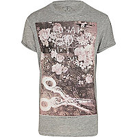 Grey burnout Holloway Road floral t-shirt