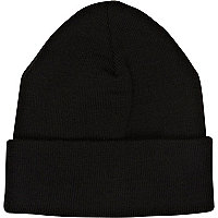 Black knitted turn up beanie hat