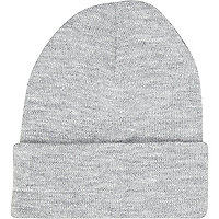 Grey knitted turn up beanie hat