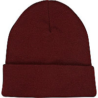 Dark red knitted turn up beanie hat