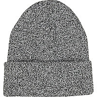 Black and white twist knit beanie hat