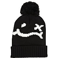 Black and white face print beanie hat