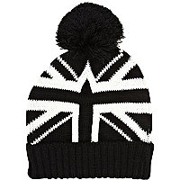 Black and white union jack beanie hat