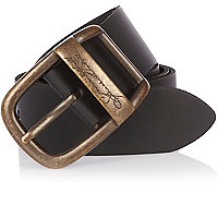 Black leather signature embossed belt