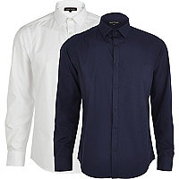 Navy and white long sleeve shirt pack