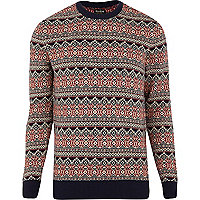 Red Jack & Jones Vintage fairisle jumper