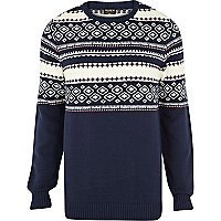 Navy Jack & Jones Vintage fairisle jumper