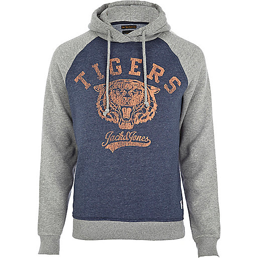 Grey Jack & Jones Vintage tiger hoodie