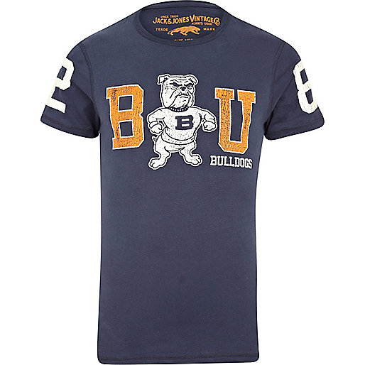 Blue Jack & Jones Vintage bulldog t-shirt