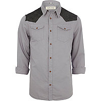 Grey Western shoulder patch shirt