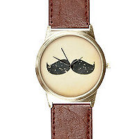 Brown moustache face watch