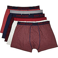 Dark red contrast trim boxer shorts pack