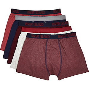 Dark red RI contrast trim boxer shorts pack