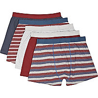 Red, navy and grey stripe boxer shorts pack