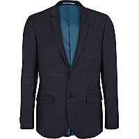 Navy blue slim suit jacket