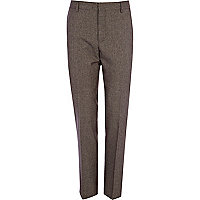 Brown tiny dogtooth skinny suit trousers