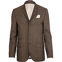 Brown tiny dogtooth skinny suit jacket