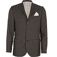 Black tiny dogtooth skinny suit jacket