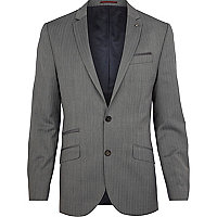 Grey herringbone slim suit jacket