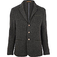 Grey fleck knitted blazer