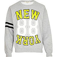 Grey New York 88 print sweatshirt