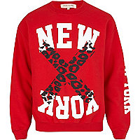 Red New York leopard print sweatshirt