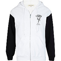 White and black dope print back hoodie