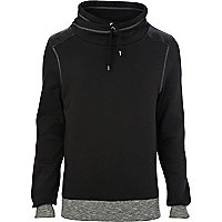 Black cowl neck sweat top