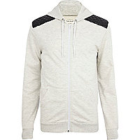 Ecru marl quilted shoulder patch hoodie