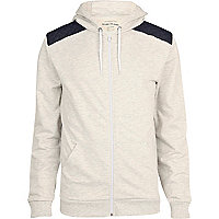 Ecru marl quilted patch zip through hoodie