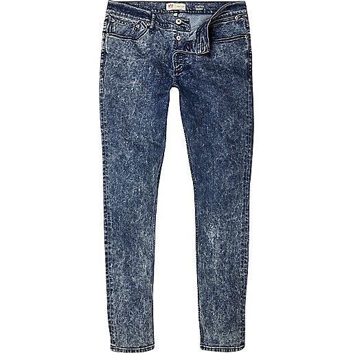 Mid acid wash Sid skinny stretch jeans