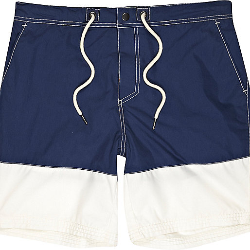 Navy colour block mid length swim shorts