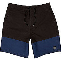 Black colour block mid length swim shorts