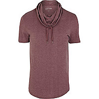 Red cowl neck short sleeve t-shirt