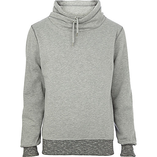 Grey cowl neck sweat top