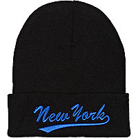Black New York beanie hat