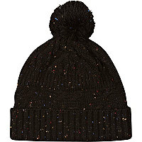 Black neppy cable knit beanie hat