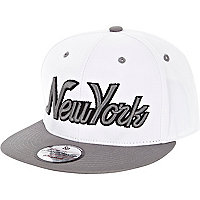 White New York flat peak cap