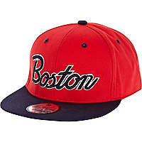 Red Boston flat peak cap
