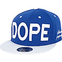 Blue and white dope flat peak cap