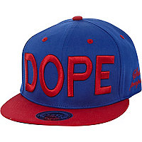 Blue and red dope flat peak cap
