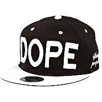 Black and white dope flat peak cap