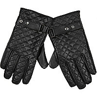 Black quilted leather RI popper gloves