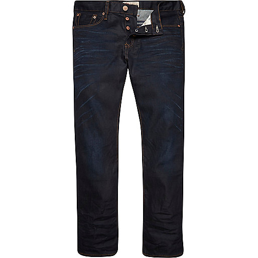 Dark wash coated Dean straight jeans